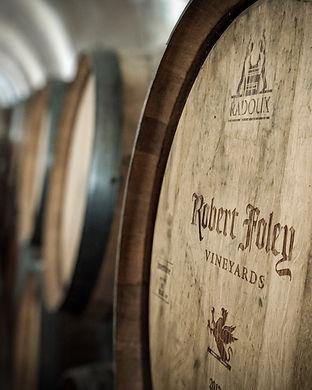 Robert Foley branded wine barrel