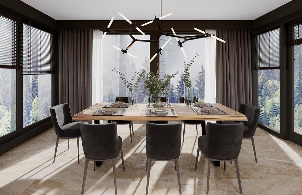 Дизайн столовой, обеденная зона, темная кухня, дизайн интерьера