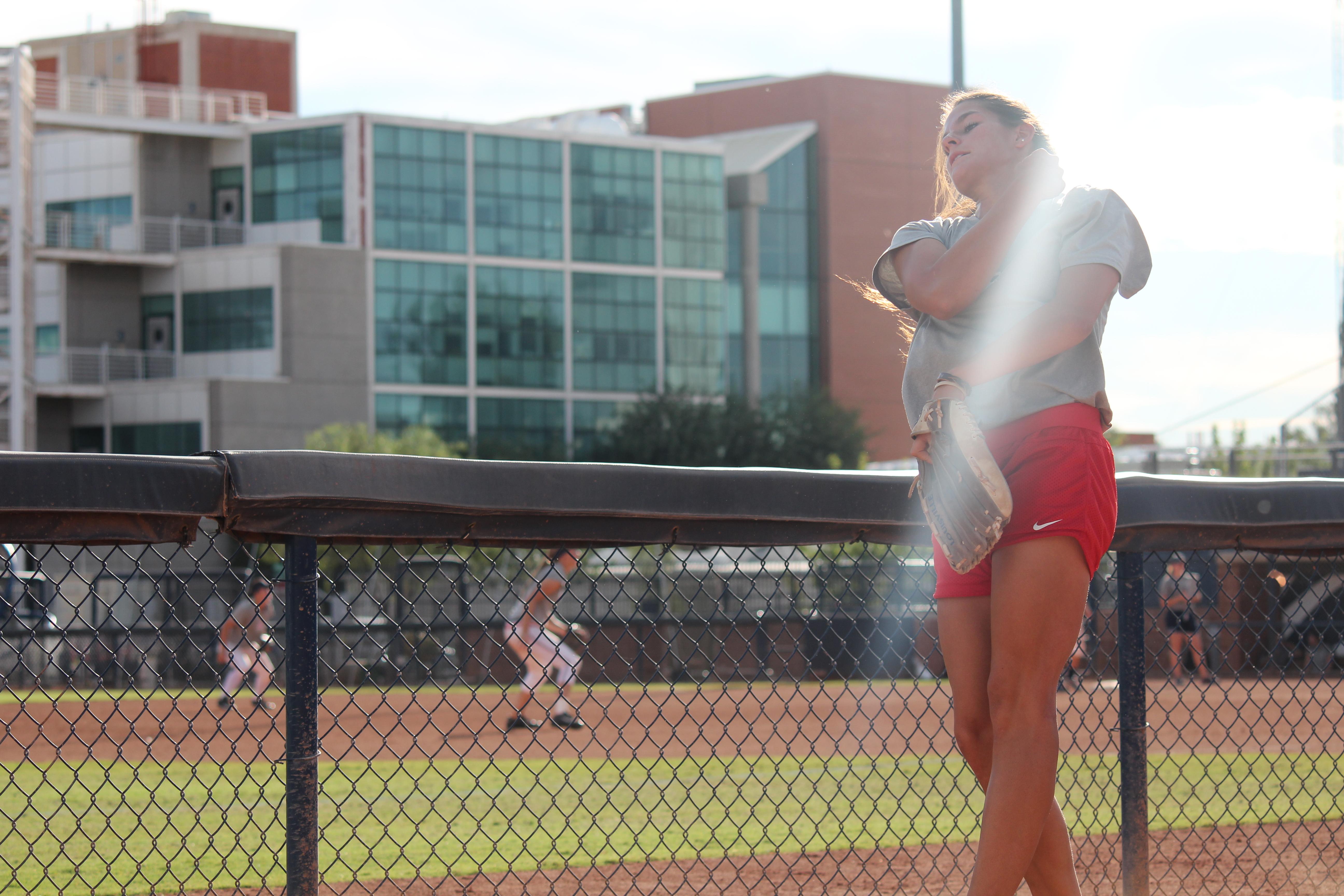 Softball pitcher with natural ligh