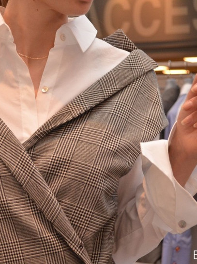 layered look wrap, vest and white shirt