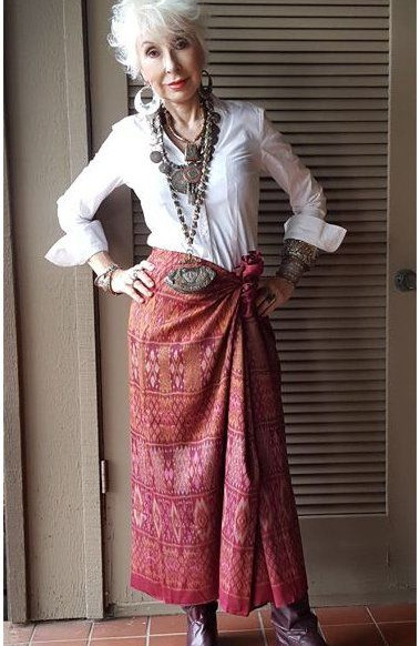 WHITTE shirt society and a wrap skirt