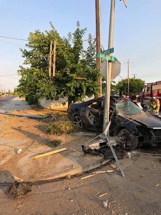 Vehicle collision takes out power