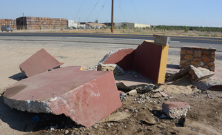 Car smashes historic landmark