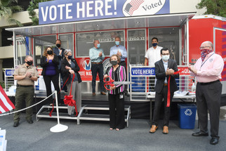 Mobile voting center opens