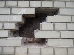 Probe to reveal steel lintel
