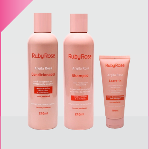 Kit Argila Rosa Ruby Rose - Para Cabelos