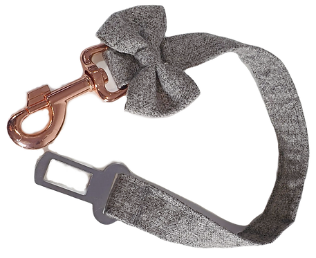Grey Herringbone Tweed Dog Seat belt Restraint