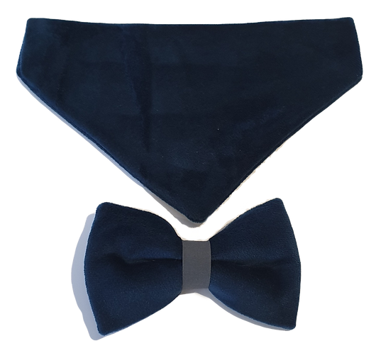 Luxury Velvet Bandana and Bow Set