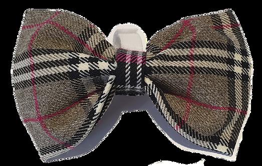 Grey & Red Tartan Bow