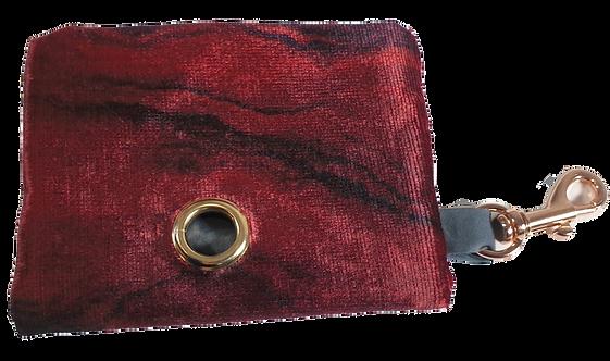 Red Marble Velvet Poop Bag Dispenser