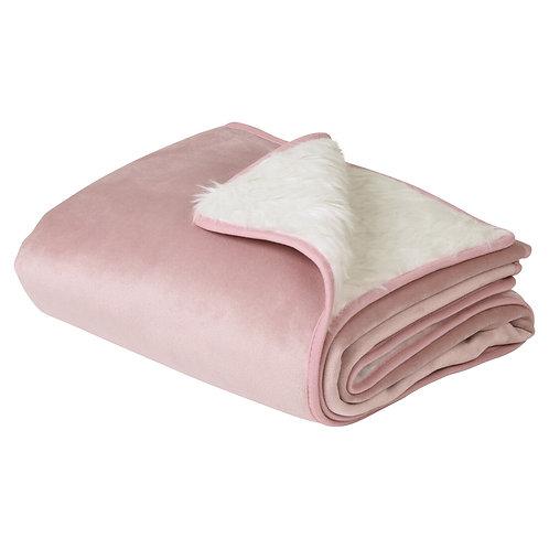 Blush Pink Velvet & Fur Lined Dog Blanket - Embroidered
