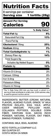 Keto Tortilla Nutrition Label