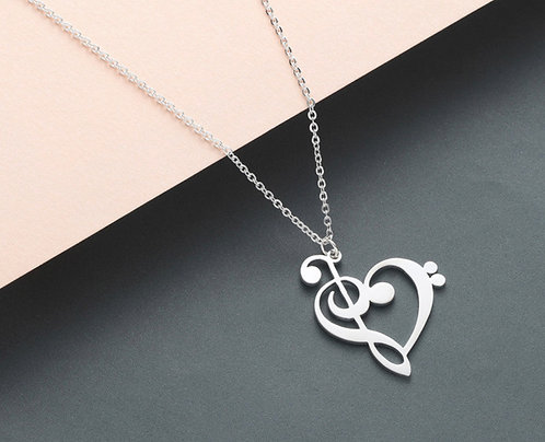 I <3 You, Music! Clef Necklace