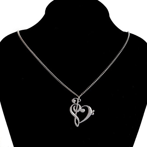 Silver Treble and Bass Clef Heart