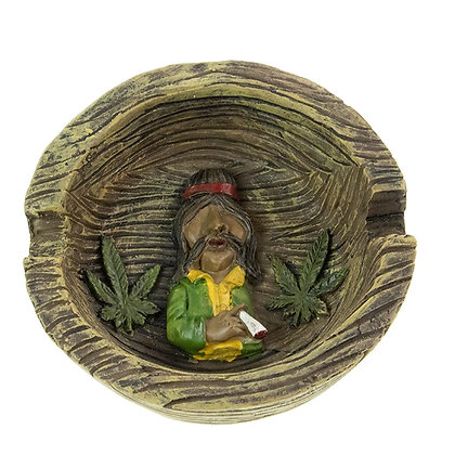 ASHTRAY OLYMPIA RASTA FIGURE DESIGN SMILING/LEAVES BROWN