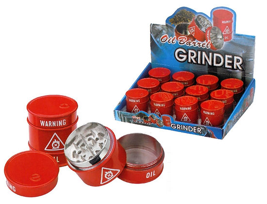 3TP - RED OIL BARREL GRINDER, 12 PC DISPLAY