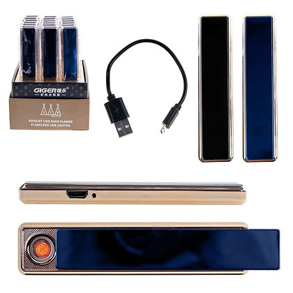 3TP - SLIM FLAMELESS USB LIGHTER, GOLD TRIM, 18PCS DISPLAY
