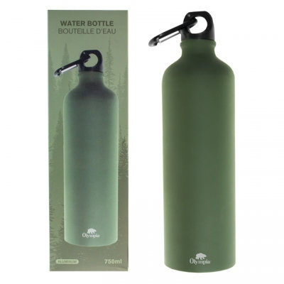 OLYMPIA - ALUMINUM BOTTLE WITH CARABINER OLIVE DRAB 750 ML