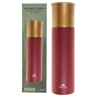 OLYMPIA - SHOTGUN SHELL STYLE THERMOS 500ML, RED