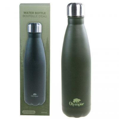OLYMPIA - STAINLESS STEEL WATER BOTTLE, 500ML, GREEN