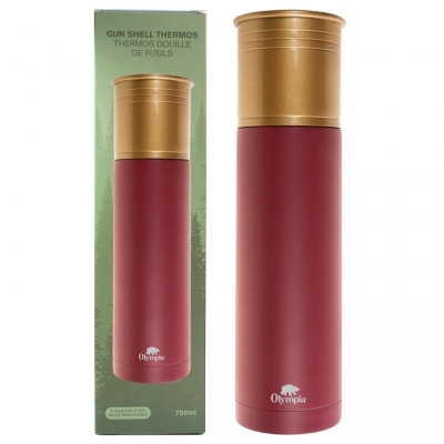 OLYMPIA - SHOTGUN SHELL STYLE THERMOS 750 ML, RED