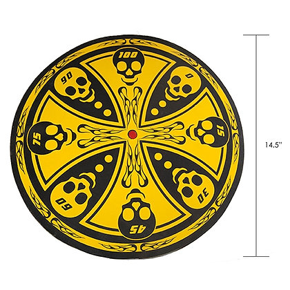 OLYMPIA - YELLOW AND BLACK SKULL THROWING KNIFE TARGET