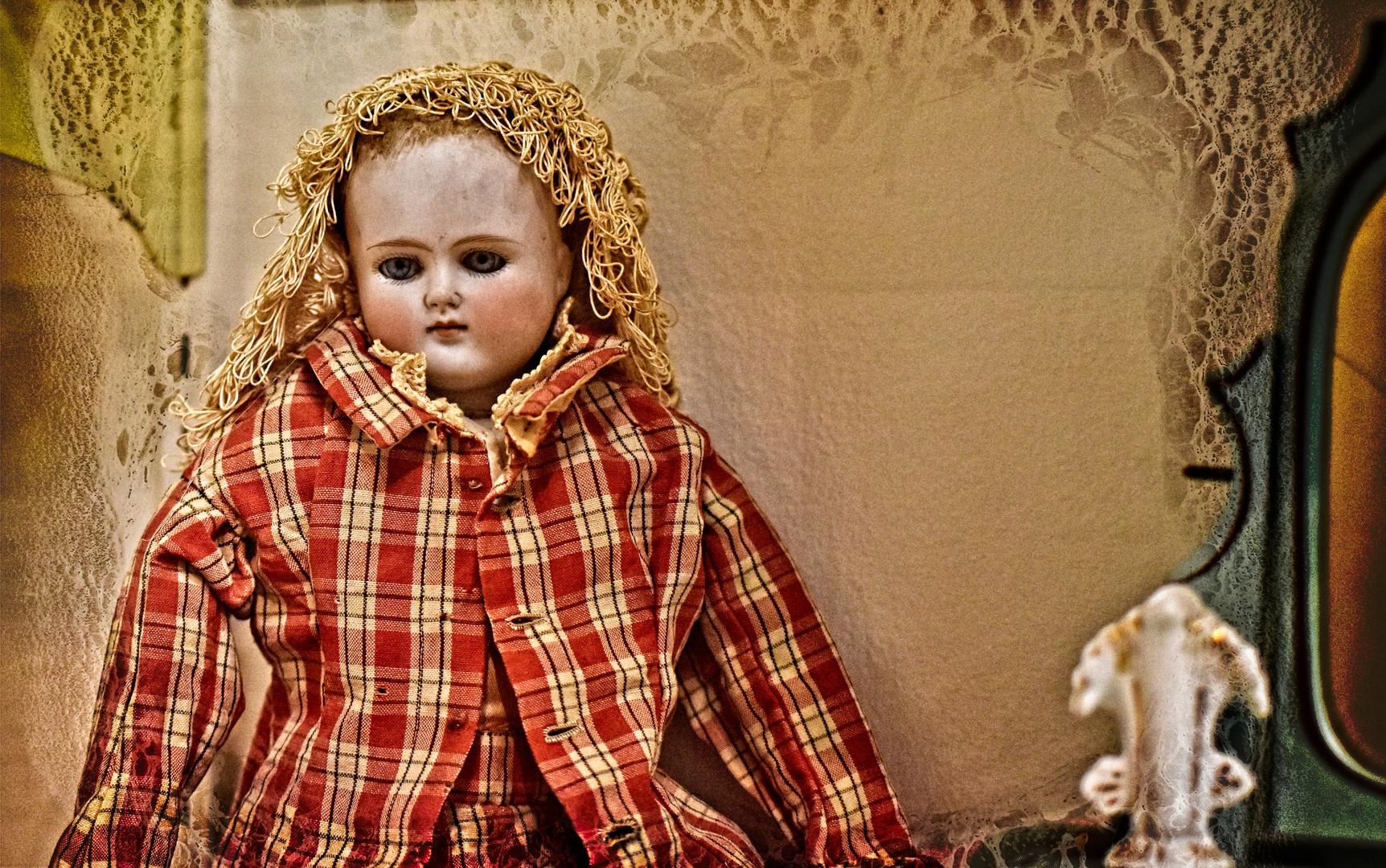 Doll in Orange Plaid Jacket