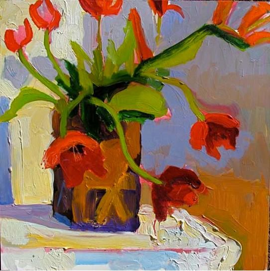 Tulip Meditation, 12x12, Oil on Board, S