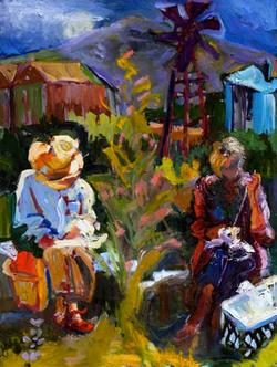 Women Artists, 18x24,  Oil on Board, Sold