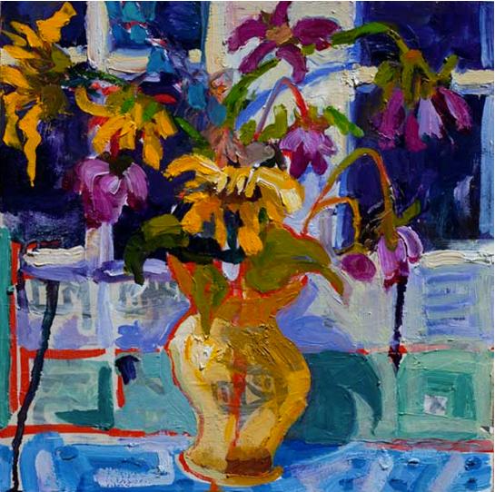 Yellow Vase, 12x12, OIl on panel, Caligr