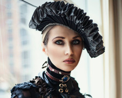 vilma biliene in the steampunk ruff and leather cameo collar horizontal
