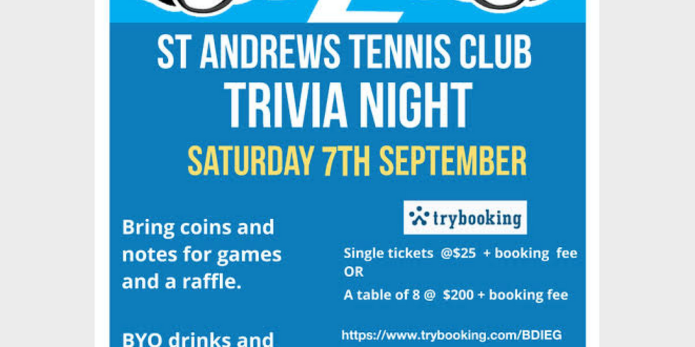 St Andrew's Tennis Club Trivia Night