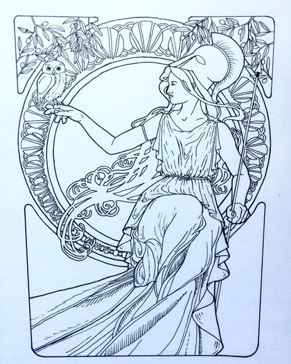 Athena, in the style of Alphonse Mucha