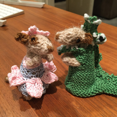 Two meerkats from Sue Stratford's book 'Knitted Meerkats'