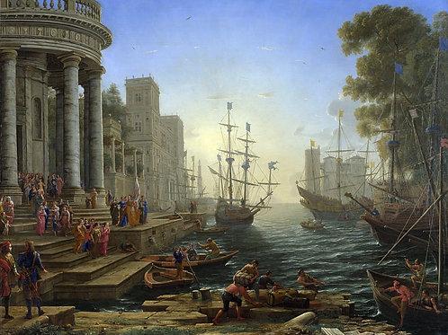 Клод Лоррен - Отплытие святой Урсулы, 30х40 см.
