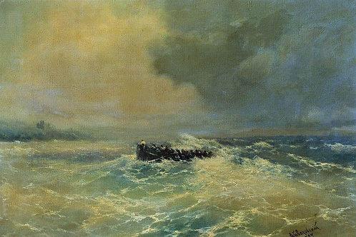 Перед Алупкой в Крыму (Лодка в море). 1894