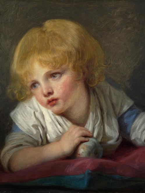 Жан-Батист Грёз - Ребенок с яблоком, 30х40 см.