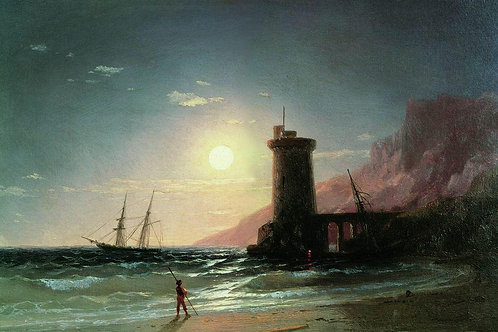 Морской пейзаж при луне. 1849, 30х40 см.