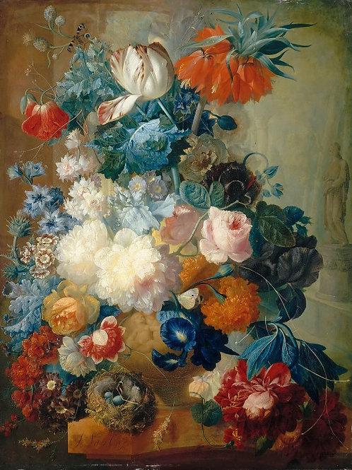 Ос, Цветы в вазе и птичье гнездо 30х40 см.