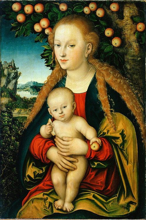 Кранах, Лукас, I. - Мадонна с младенцем, 30х40 см.