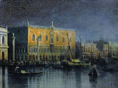 Дворец дожей в Венеции при луне. 1878, 30х40 см.