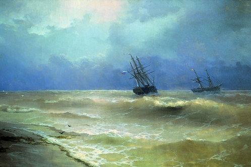 Прибой у крымских берегов.1892, 30х40 см.