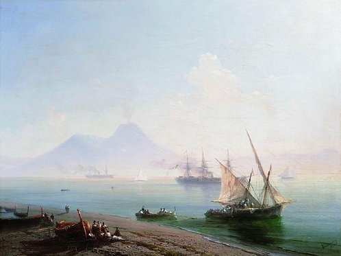 Берег Неаполя. Вид Везувия. 1877, 30х40 см.