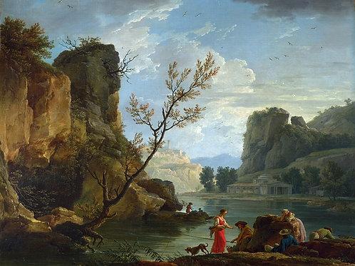Клод-Жозеф Верне - Река с рыболовом, 30х40 см.