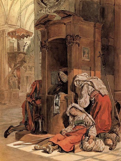 Исповедь итальянки. 1827-1830, 30х40 см.