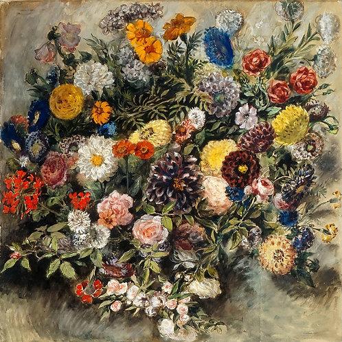 Делакруа, - Букет цветов, 30Х40см.
