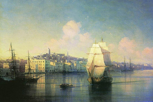 Вид приморского города. 1877, 30х40 см.