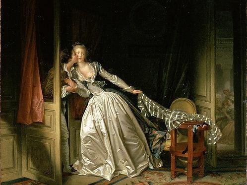 Фрагонар, Жан-Оноре - Похищенный поцел,  30х40 см.