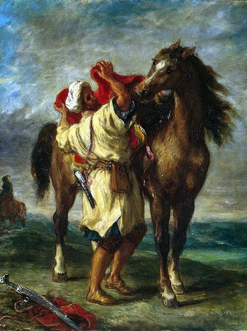 Делакруа, Марокканец, седлающий коня, 30х40 см.