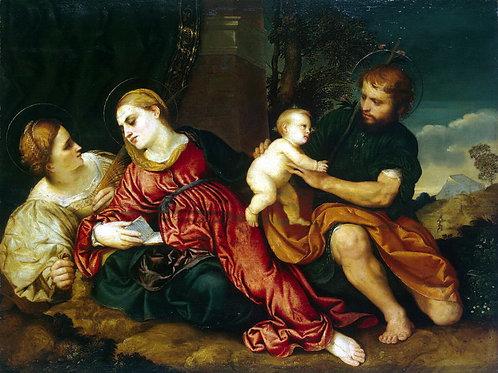 Бордон, Святое Семейство со св. Екатери, 30х40 см.